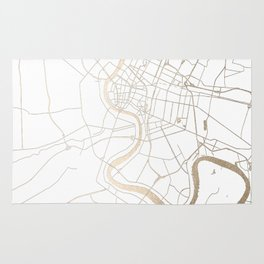 Bangkok Thailand Minimal Street Map - Gold Metallic and White IV Rug