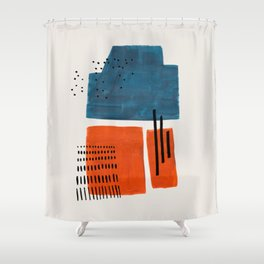 Burnt Orange Jewel Teal Blue Mid Century Modern Funky Colorful Shapes Patterns by Ejaaz Haniff Shower Curtain