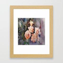 Ivory Roses Watercolor Tender Bouqet Framed Art Print