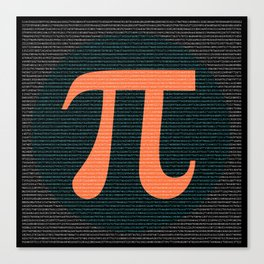 First 10,000 digits of Pi, blue and orange. Canvas Print