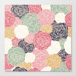 Pastel Colorful Rose Pattern Canvas Print