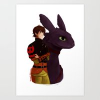 hiccup Art Prints featuring Hiccup and Toothless by tsunami-sand