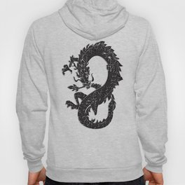Black Oriental Dragon on Silver Hoody