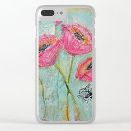 Happy Poppies Clear iPhone Case