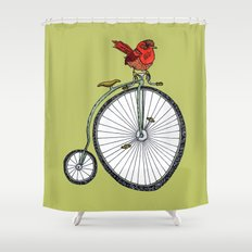 bird on a bicycle. Shower Curtain