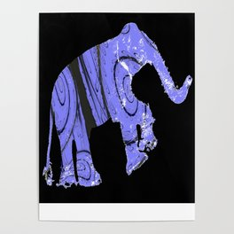 Elephant and fractal Poster
