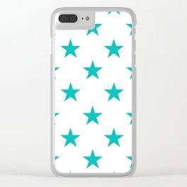 Stars (Eggshell Blue/White) Clear iPhone Case