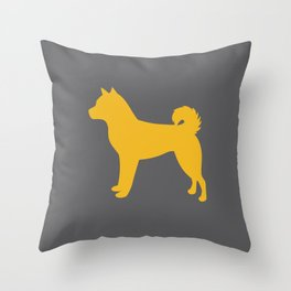 Shiba Inu (Grey/Yellow) Throw Pillow