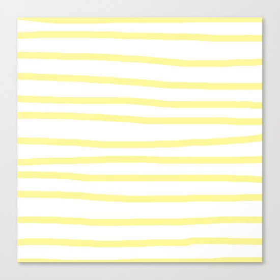 Simply Drawn Stripes in Pastel Yellow Canvas Print
