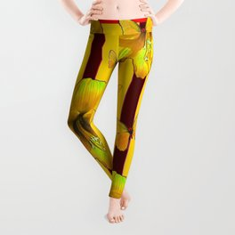 """""""FOR THE LOVE OF BUTTERFLIES"""" RED-YELLOW ART Leggings"""