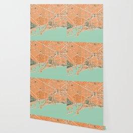 Barcelona city map orange Wallpaper