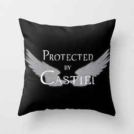 Protected by Castiel White Wings Throw Pillow