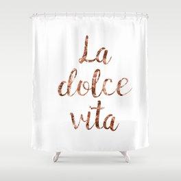 Rose gold La Dolce Vita Shower Curtain