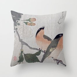 Watecolor Bullfinches and Cherry Blossoms Throw Pillow