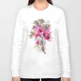 Red Water Blooms Long Sleeve T-shirt