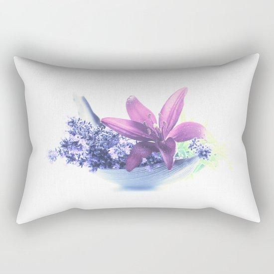 Summer flower pattern lilies and lavender Rectangular Pillow