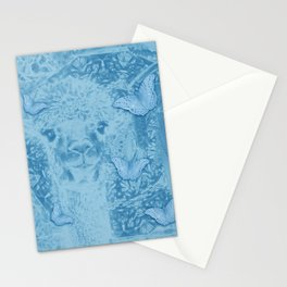 Ghostly alpaca with butterflies in snorkel blue Stationery Cards