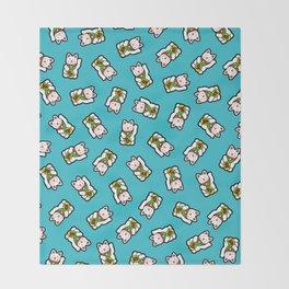 Lucky Cat Pattern Throw Blanket