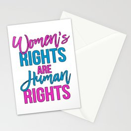 Women's rights are human rights Pink Blue Stationery Cards