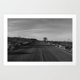 Monochrome Joshua Tree Road Art Print