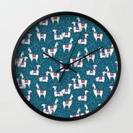 Watercolor llamas Wall Clock