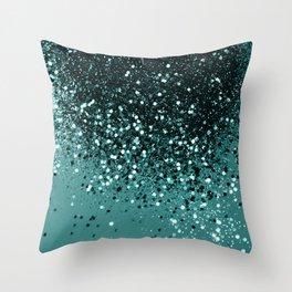 Teal Mermaid Ocean Glitter #3 #shiny #decor #art #society6 Throw Pillow