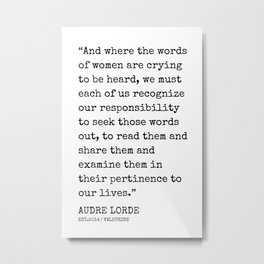 23  | Audre Lorde Quotes | 200607 | Metal Print