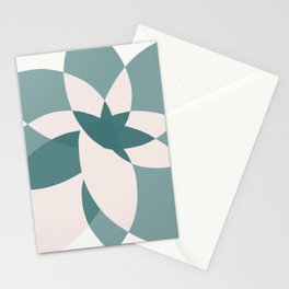 Abstract graphic bloom in teal and pale rose Stationery Cards