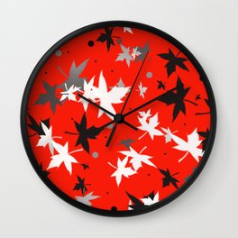 Forever Autumn Leaves red 5 Wall Clock