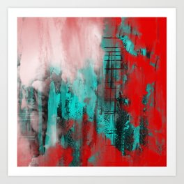 Intense Red And Blue Art Print