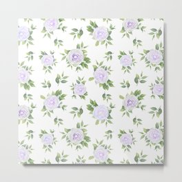 Botanical lavender white green watercolor floral Metal Print