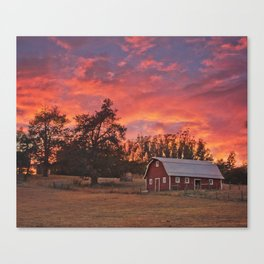 Barn Sunset Canvas Print