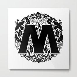 Letter M monogram wildwood Metal Print