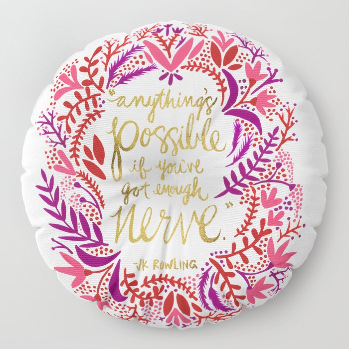 Anything's Possible – Gold & Red Floor Pillow