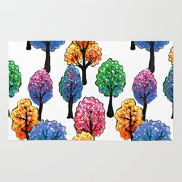 Forest - Tree Pattern Illustration - Acrylic Painting Rug