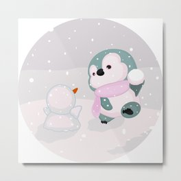 Baby Penguin and Snowman Metal Print
