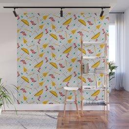Yellow Rainy Day Pattern Wall Mural
