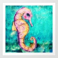 seahorse Art Prints featuring Seahorse by SannArt