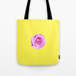 pink rose with yellow background Tote Bag