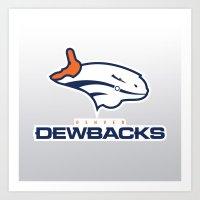 nfl Art Prints featuring Denver Dewbacks - NFL by Steven Klock