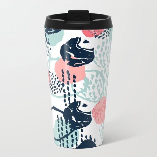 Mellie - abstract minimal modern art print painted boho hipster gender neutral canvas art Metal Travel Mug