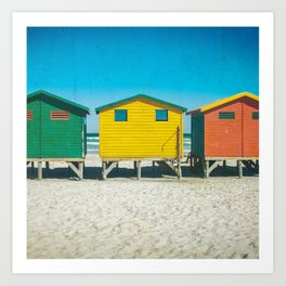 Surf Shacks in Cape Town, South Africa (Square) Art Print