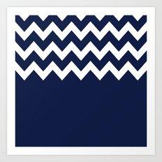 Indigo Navy Blue Chevron Block Art Print