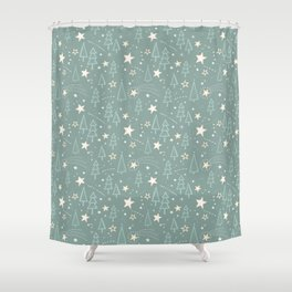 Christmas Nativity - Night Sky and Trees Pattern / Teal Shower Curtain
