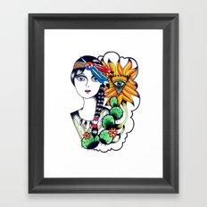 Cactus Eye Tattoo Style Framed Art Print