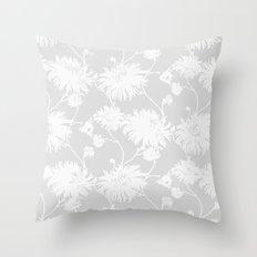 White Floral Poms Throw Pillow