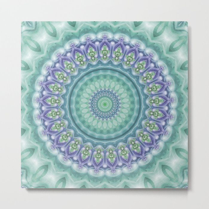 Bright Green and Purple Fractal Kaleidoscope Mandala Metal Print