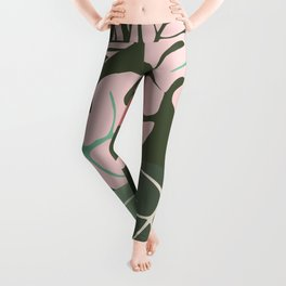 Tropical leaves green and pink paradises Leggings