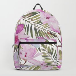 Tropical hand painted green magenta watercolor floral Backpack