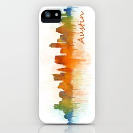 Austin Texas, City Skyline, watercolor  Cityscape Hq v3 iPhone Case